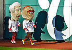 11 October 2012: Washington Nationals Mascot Teddy Roosevelt edges out Thomas Jefferson for his third consecutive win of the Presidents Race during Postseason Playoff Game 4 of the National League Divisional Series against the St. Louis Cardinals at Nationals Park in Washington, DC. The Nationals defeated the Cardinals 2-1 tying the Series at 2 games apiece. Mandatory Credit: Ed Wolfstein Photo