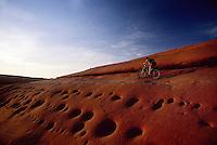 Mountain biker crosses wildly pocketed sandstone slope, Bartlett Wash, Moab, Utah.