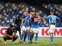1st August 2020; Stadio San Paolo, Naples, Campania, Italy; Serie A Football, Napoli versus Lazio; Matteo Politano of Napoli  celebrates after scoring in the 90th  minute for 3-1