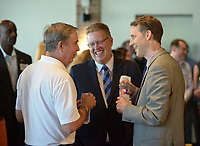 NWA Democrat-Gazette/BEN GOFF @NWABENGOFF<br /> Guests mingle Monday, June 12, 2017, during a reception hosted by the Walton Family Foundation at Record in downtown Bentonville. Members of the Walton family talked about their vision for the foundation's future work in Northwest Arkansas and abroad.