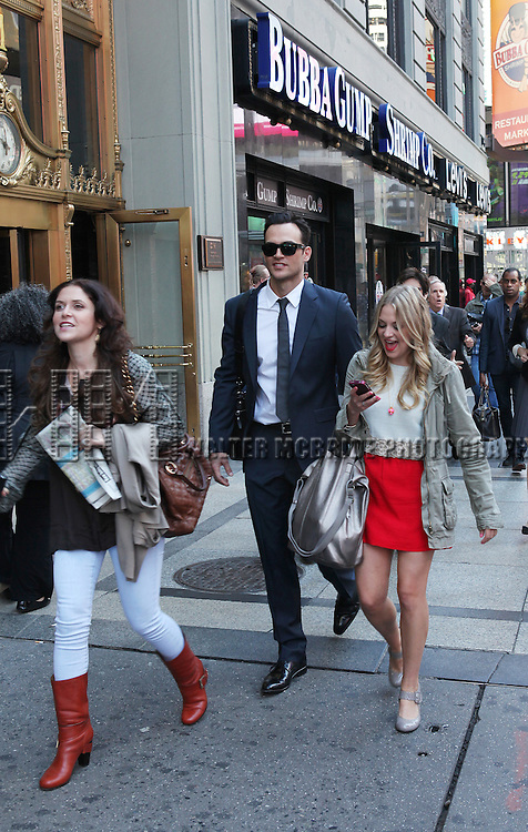 """Producer Amanda Lipitz, actor Cheyenne Jackson and actress Jenni Barber attends press event to introduce the cast and creators of the new Broadway play """"The Performers""""at the Hard Rock Cafe on Tuesday, Sept. 25, 2012 in New York."""