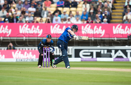 09.06.2015.  Birmingham, England. T20 One Day International. England versus New Zealand. Eoin Morgan of England hits the first six of the match from the bowling of Nathan McCullum of New Zealand.