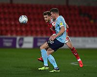 Fleetwood Town's Conor McAleny battles for the ball<br /> <br /> Photographer Dave Howarth/CameraSport<br /> <br /> Leasing.com Trophy Northern Section Round Three - Fleetwood Town v Accrington Stanley - Tuesday 7th January 2020 - Highbury Stadium - Fleetwood<br />  <br /> World Copyright © 2018 CameraSport. All rights reserved. 43 Linden Ave. Countesthorpe. Leicester. England. LE8 5PG - Tel: +44 (0) 116 277 4147 - admin@camerasport.com - www.camerasport.com