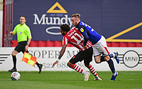 Lincoln City's Bruno Andrade is fouled by Crewe Alexandra's Kevin O'Connor winning his side a penalty<br /> <br /> Photographer Chris Vaughan/CameraSport<br /> <br /> The EFL Sky Bet League Two - Lincoln City v Crewe Alexandra - Saturday 6th October 2018 - Sincil Bank - Lincoln<br /> <br /> World Copyright &copy; 2018 CameraSport. All rights reserved. 43 Linden Ave. Countesthorpe. Leicester. England. LE8 5PG - Tel: +44 (0) 116 277 4147 - admin@camerasport.com - www.camerasport.com