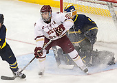 Austin Cangelosi (BC - 9), Collin Delia (Merrimack - 1) - The visiting Merrimack College Warriors defeated the Boston College Eagles 6 - 3 (EN) on Friday, February 10, 2017, at Kelley Rink in Conte Forum in Chestnut Hill, Massachusetts.