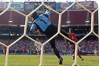 Panama's goalkeeper Jaime Penedo makes a save. The United States defeated Panama 3-1 in a shoot out after a scoreless game to win the CONCACAF Gold Cup at Giant's Stadium, East Rutherford, NJ, on July 24, 2005.