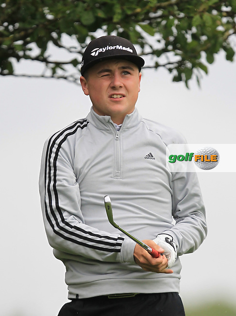 Darragh Smith (Castle) on the 9th tee during Round 3 of the 2016 Connacht U18 Boys Open, played at Galway Golf Club, Galway, Galway, Ireland. 07/07/2016. <br /> Picture: Thos Caffrey | Golffile<br /> <br /> All photos usage must carry mandatory copyright credit   (&copy; Golffile | Thos Caffrey)
