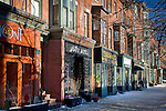 Store fronts in the chic South End neighborhood of Boston, MA, USA