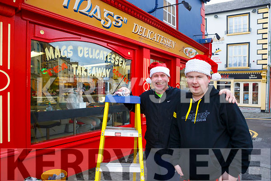 Christmas in Listowel Pictured window cleaner Willie Guiney and Paudie Langan, Agri Auto