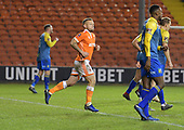 18/12/18 The Emirates FA Cup, 2nd Round Replay Blackpool v Solihull Moor<br /> <br /> Jay Spearing celebrates after securing victory with an extra time penalty