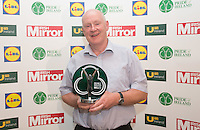 19/05/2015 <br /> Pat Fanning with his award<br /> during the Irish mirror pride of Ireland awards at the mansion house, Dublin.<br /> Photo: gareth chaney Collins