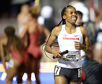 NWA Democrat-Gazette/ANDY SHUPE<br /> Arkansas' Kethlin Campbell comes in Saturday, May 11, 2019, to win the 4x400-meter relay during the SEC Outdoor Track and Field Championships at John McDonnell Field in Fayetteville. Visit nwadg.com/photos to see more photographs from the meet.