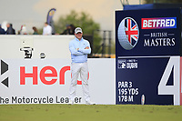 Jamie Donaldson (WAL) on the 4th tee during Round 2 of the Betfred British Masters 2019 at Hillside Golf Club, Southport, Lancashire, England. 10/05/19<br /> <br /> Picture: Thos Caffrey / Golffile<br /> <br /> All photos usage must carry mandatory copyright credit (&copy; Golffile | Thos Caffrey)