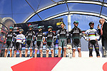 Bora-Hansgrohe team on stage at sign on for Gent-Wevelgem in Flanders Fields 2017, running 249km from Denieze to Wevelgem, Flanders, Belgium. 26th March 2017.<br /> Picture: Eoin Clarke | Cyclefile<br /> <br /> <br /> All photos usage must carry mandatory copyright credit (&copy; Cyclefile | Eoin Clarke)