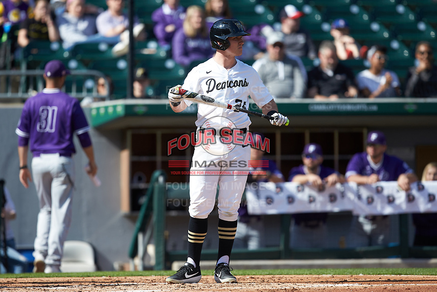 Chris Lanzilli (24) of the Wake Forest Demon Deacons steps up to the plate during the game against the Furman Paladins at BB&T BallPark on March 2, 2019 in Charlotte, North Carolina. The Demon Deacons defeated the Paladins 13-7. (Brian Westerholt/Four Seam Images)