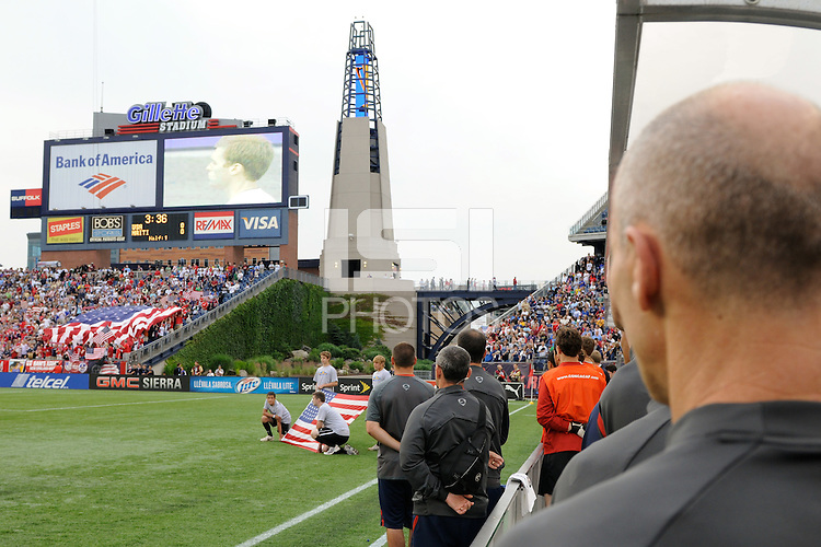 United States (USA) head coach Bob Bradley during the playing of the national anthem. The United States and Haiti played to a 2-2 tie during a CONCACAF Gold Cup Group B group stage match at Gillette Stadium in Foxborough, MA, on July 11, 2009. .