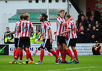 Lincoln City's Harry Anderson celebrates scoring his sides second goal, after it deflected off Chesterfield's Andy Kellett<br /> <br /> Photographer Andrew Vaughan/CameraSport<br /> <br /> The EFL Sky Bet League Two - Lincoln City v Chesterfield - Saturday 7th October 2017 - Sincil Bank - Lincoln<br /> <br /> World Copyright &copy; 2017 CameraSport. All rights reserved. 43 Linden Ave. Countesthorpe. Leicester. England. LE8 5PG - Tel: +44 (0) 116 277 4147 - admin@camerasport.com - www.camerasport.com
