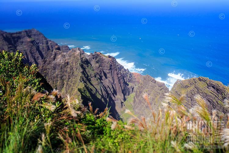 The end of the Awa'awapuhi Trail leads to a beautiful, dizzying and vertigo-inducing view of the famed Na Pali coastline of Kaua'i.