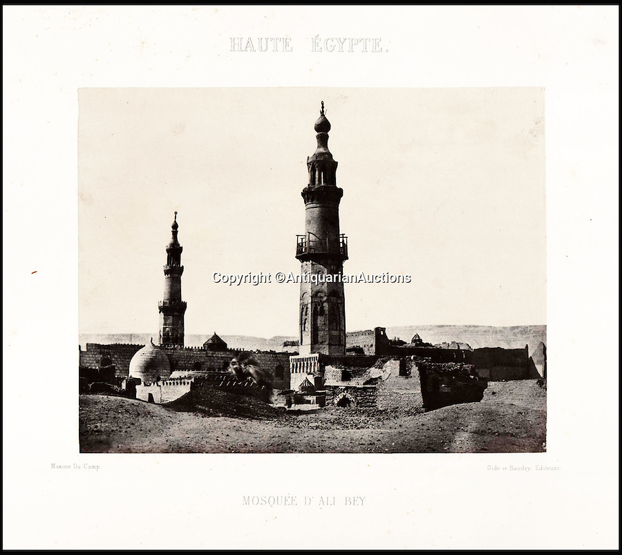 BNPS.co.uk (01202 558833)<br /> Pic: AntiquarianAuctions/BNPS<br /> <br /> Upper Egypt. Mosque of Ali Bey<br /> <br /> First Impression's - earliest prints of ancient Egypt uncovered <br /> <br /> Calotypes from the 1840's revealed the stunning architecture of the ancient civilisation to the Victorian public for the first time.<br /> <br /> The stunning collection - comprising 59 black and white images of sights including the pyramids, the Sphinx and statues at Aswan - is among the first known volumes of travel photography.<br /> <br /> Produced at a time when camera technology was still in its infancy, they were captured by Maxime Du Camp, the son of a wealthy French surgeon, between 1849 and 1851 during a government-funded expedition with his friend and literary great Gustave Flaubert.<br /> <br /> They are being sold by Antiquarian Auctions in an online sale which ends on Thursday.