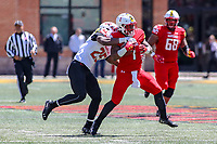 College Park, MD - April 27, 2019:  Maryland Terrapins defensive back Antoine Brooks, Jr. (25) tackles Maryland Terrapins wide receiver DJ Turner (1) during the spring game at  Capital One Field at Maryland Stadium in College Park, MD.  (Photo by Elliott Brown/Media Images International)