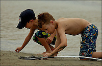 Two young boys (model released) plays on the ocean beach on a summer day. Photo taken on Sullivan's Island, near Charleston, South Carolina beach on the Atlantic Ocean, but could represent a beach scene anywhere.