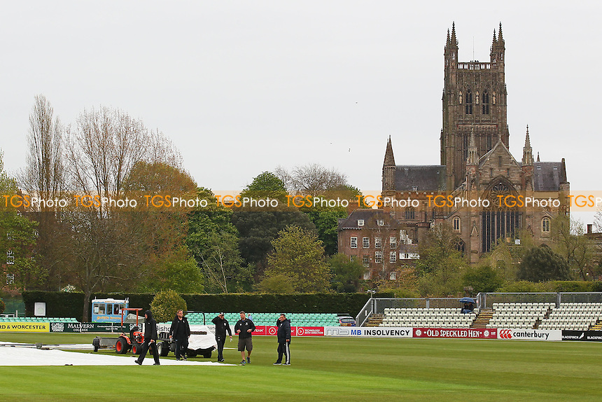 General view looking towards the cathedral as rain delays play during Worcestershire CCC vs Essex CCC, Specsavers County Championship Division 2 Cricket at New Road on 1st May 2016