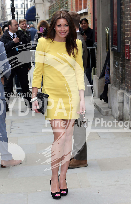 Alison King  arriving for the wedding of Coronation Street actress Helen Worth   at St.James's Church in Piccadilly, London, Saturday 6th   April 2013.  Photo by: Stephen Lock / i-Images / DyD Fotografos