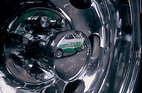 Close-up of a wheel from a pesero. Peseros or microbuses are one of the primary forms of public transportation in Mexico City. 31-03-04