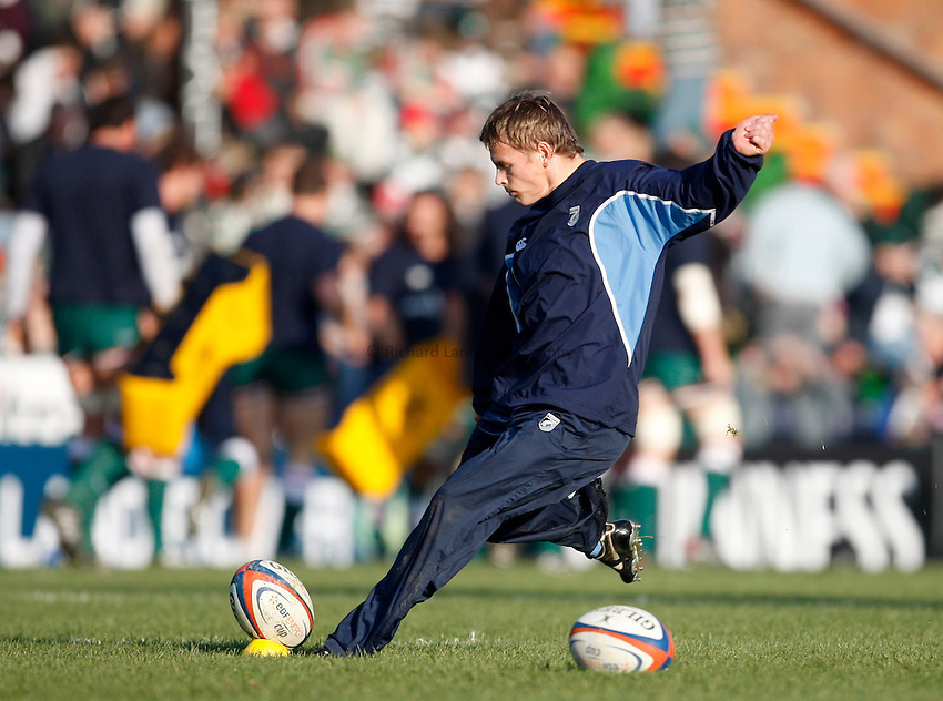 Photo: Richard Lane/Richard Lane Photography..Leicester Tigers v Cardiff Blues. EDF Energy Cup. 03/11/2007. .Blues' Ben Blair kicks during warm up.