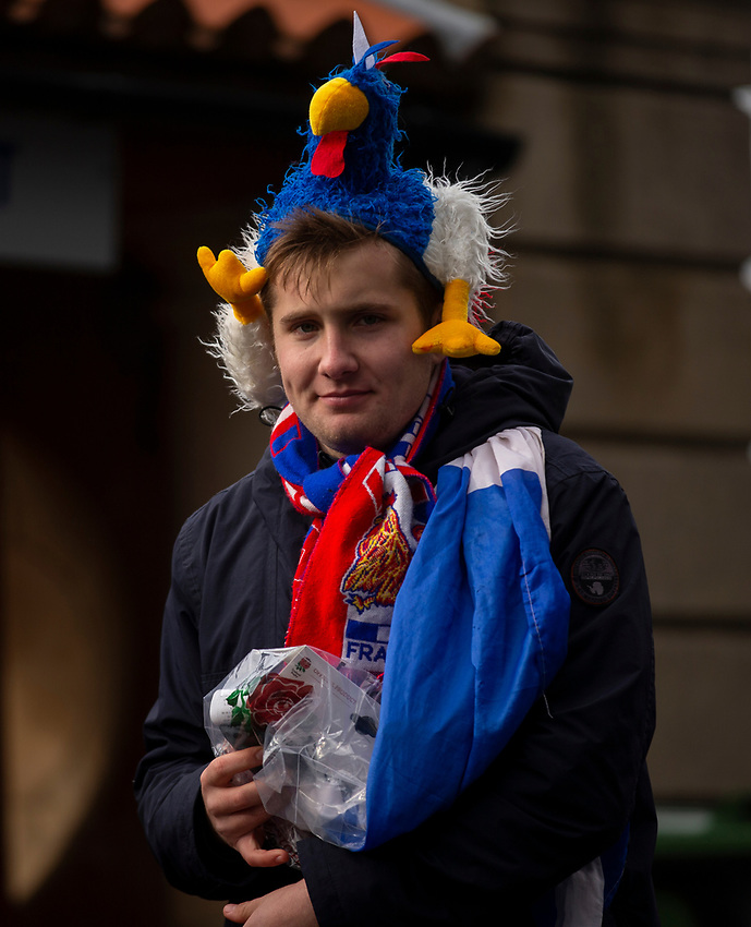 French fan arrives at the ground<br /> <br /> Photographer Bob Bradford/CameraSport<br /> <br /> Guinness Six Nations Championship - England v France - Sunday 10th February 2019 - Twickenham Stadium - London<br /> <br /> World Copyright © 2019 CameraSport. All rights reserved. 43 Linden Ave. Countesthorpe. Leicester. England. LE8 5PG - Tel: +44 (0) 116 277 4147 - admin@camerasport.com - www.camerasport.com