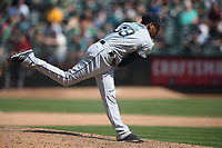 OAKLAND, CA - AUGUST 15:  Edwin Diaz 39 of the Seattle Mariners pitches against the Oakland Athletics during the game at the Oakland Coliseum on Wednesday, August 15, 2018 in Oakland, California. (Photo by Brad Mangin)