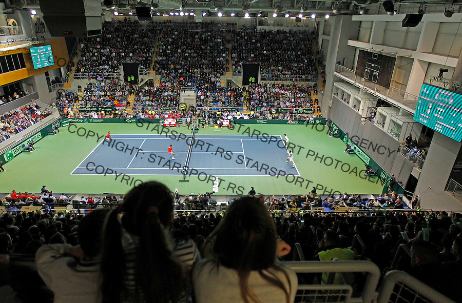 Davis Cup 2014 first round<br /> Srbija v Hrvatska<br /> Novak Djokovic and Nenad Zimonjic-Serbia v Franko Skugor and Marin Draganja doubles dublovi<br /> General overview of Kraljevo Arena<br /> Kraljevo, 07.03.2015.<br /> Foto: Srdjan Stevanovic/Starsportphoto.com&copy;