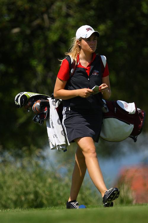 April 18, 2011; Hollister, CA, USA; Santa Clara Broncos golfer Kelsey O'Brien during the WCC Golf Championships at San Juan Oaks Golf Club.