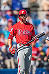 6 March 2019: Philadelphia Phillies catcher Rob Brantly at bat during a Spring Training game against the Toronto Blue Jays at Dunedin Stadium in Dunedin, Florida. The Blue Jays defeated the Phillies 9-7 in Grapefruit League play. Mandatory Credit: Ed Wolfstein Photo *** RAW (NEF) Image File Available ***
