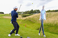 Danny Willett chips it over a card board cut out of Lee Westwood during the Graham Wylie Foundation- Have A Heart- golf day with Lee Westwood and Ronan Keating at Close House Golf Club, Heddon on the wall, England on 10 September 2018. Photo by Thomas Gadd.
