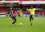 Kieron Freeman of Sheffield Utd in action with Josh Murphy of Norwich City during the Championship match at Bramall Lane Stadium, Sheffield. Picture date 16th September 2017. Picture credit should read: Jamie Tyerman/Sportimage