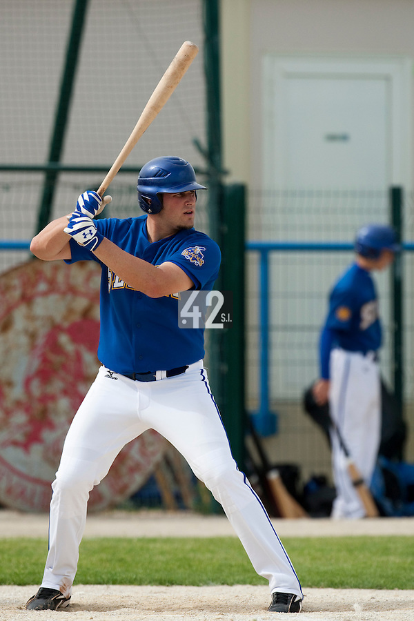 22 May 2009: Rhett Teller of Senart is seen at bat during the 2009 challenge de France, a tournament with the best French baseball teams - all eight elite league clubs - to determine a spot in the European Cup next year, at Montpellier, France. Senart wins 7-1 over Montpellier.