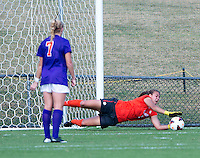 Kailen Sheridan (1) of Clemson makes a save at Klockner Stadium in Charlottesville, VA.  Virginia defeated Clemson, 3-0.