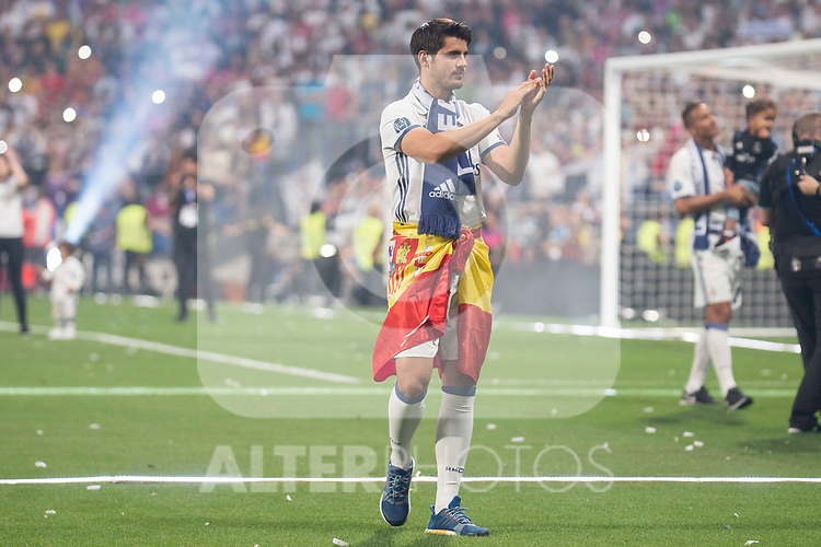 Real Madrid Alvaro Morata during the celebration of the 13th UEFA Championship at Santiago Bernabeu Stadium in Madrid, June 04, 2017. Spain.<br /> (ALTERPHOTOS/BorjaB.Hojas)
