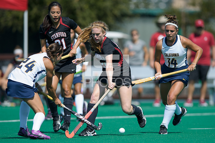 Stanford, CA, September 21, 2014<br /> Stanford Women's Field Hockey vs.Cal at Varsity Turf Stanford. Stanford won 2-1.