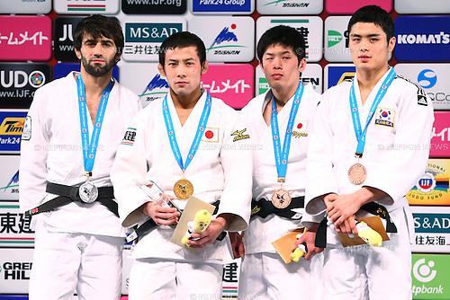 (L-R)<br /> Beslan Mudranov (RUS), <br /> Naohisa Takato, <br /> Toru Shishime (JPN), <br /> Kim Won Jin (KOR),<br /> DECEMBER 4, 2015 - Judo : <br />  IJF Grand Slam Tokyo 2015 International Judo Tournament<br /> Men's -60kg Award Ceremony<br /> at Tokyo Metropolitan Gymnasium, Tokyo, Japan. <br /> (Photo by Shingo Ito/AFLO SPORT)