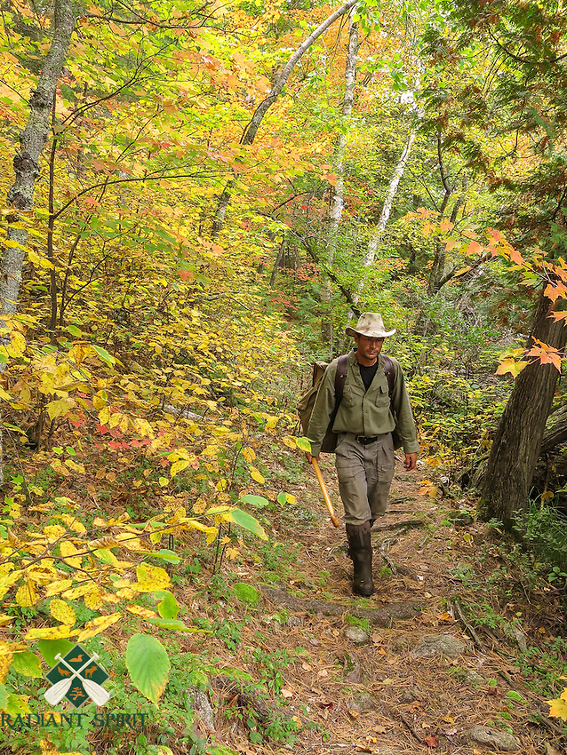 &quot;Fall Portage Enjoyment&quot;<br /> <br /> I enjoy the scenic walk, cool temperatures, and bug-free portage trails of Quetico Provincial Park in late September and October.<br /> ~ Day 190 of Inspired by Wilderness: A Four Season Solo Canoe Journey