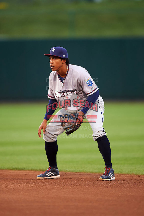 Northwest Arkansas Naturals second baseman Raul Mondesi (27) during a game against the Springfield Cardinals on April 26, 2016 at Hammons Field in Springfield, Missouri.  Northwest Arkansas defeated Springfield 5-2.  (Mike Janes/Four Seam Images)