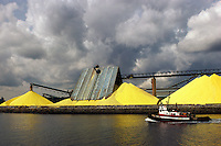 Sulfur Storage and Export Terminal in the Port of Vancouver Harbor, North Vancouver, British Columbia, Canada