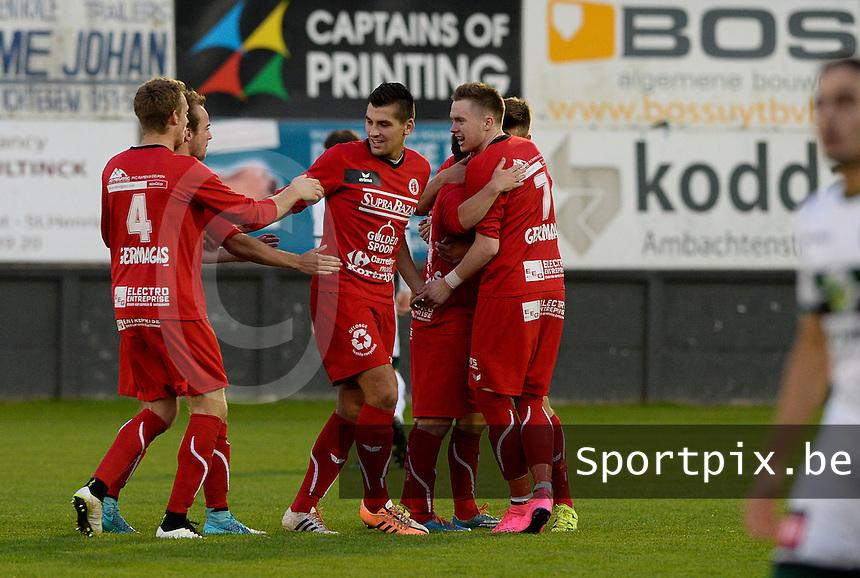 Torhout KM - FC Gullegem : Gullegem viert de 0-1 voorsprong<br /> Foto VDB / Bart Vandenbroucke