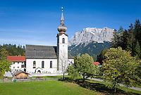 Austria, Tyrol, Biberwier: parish church St. Joseph and Zugspitze mountains | Oesterreich, Tirol, Biberwier: Kirche zum Heiligen Josef vorm Zugspitzmassiv