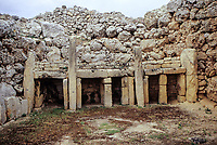Ggantija, Gozo. - North Temple Altar.  The stone temples of Malta and Gozo are the oldest stone constructions in the world, pre-dating the Egyptian pyramids and Stonehenge by as much as a thousand years.  Ggantija was built around 3500BC.
