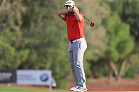 Jon Rahm (ESP) on the 18th green during Round 4 of the DP World Tour Championship 2017, at Jumeirah Golf Estates, Dubai, United Arab Emirates. 19/11/2017<br /> Picture: Golffile | Thos Caffrey<br /> <br /> <br /> All photo usage must carry mandatory copyright credit     (© Golffile | Thos Caffrey)