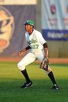 Clinton LumberKings outfielder Gaby Guerrero #27 during a game against the Burlington Bees on May 23, 2013 at Ashford University Field in Clinton, Iowa.  Clinton defeated Burlington 6-5.  (Mike Janes/Four Seam Images)