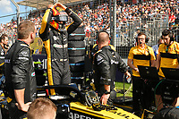 March 25, 2018: Carlos Sainz Jnr (ESP) #55 from the Renault Sport F1 team on the grid prior to the start of the 2018 Australian Formula One Grand Prix at Albert Park, Melbourne, Australia. Photo Sydney Low